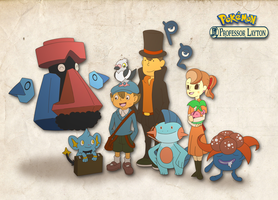 Prof Layton meets Pokemon by Sindorman