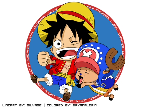 Chibi Luffy and Chopper by bryanaldrin