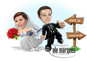 Caricature Murilo e Elisangela by Ale by alemarques21