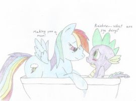 RainbowSpike: Shower time X3 by DawnFelix