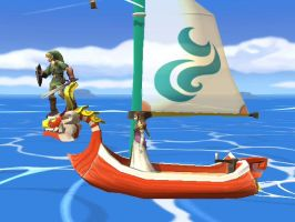 Link, Zelda, and Their Boat by shinco