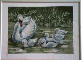 Swans needlepoint by anibolya
