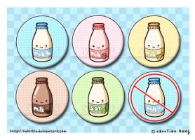Mini Milk Bottles - Button Set by kehrilyn