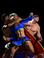 Supergirl vs MMA heavyweights by DahriAlGhul