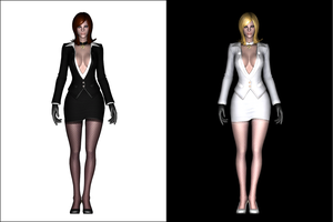 TERA - Human F Mafia Suit black'n'white by deant01