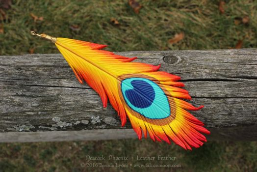 Peacock Phoenix - Leather Feather by windfalcon