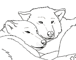 Wolf Couple Lineart 1 by Bambiiie