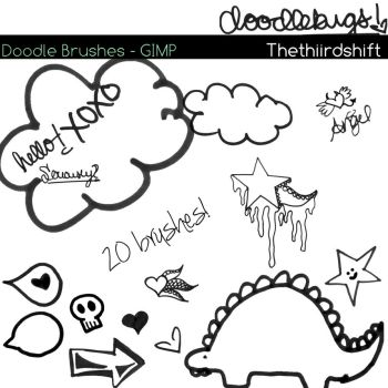 Doodle Brushes For GIMP by thethiirdshift