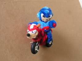 Megaman in Rush Cycle by fuzzyfigureguy