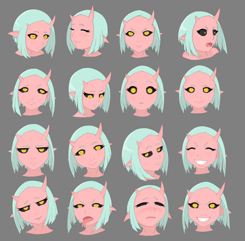 Pink Demon - Mun - Expressions Chart by DeadSlot4