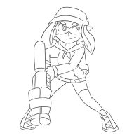 Sapphire the Inkling: 2-B Buster :Lineart: by Xero-J