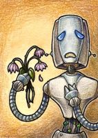 Gary the Sad Robot - ACEO by jefita