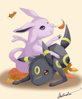 Fall-time: Espeon and Umbreon by haruka-wolf