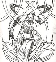 Art Neuveau Psylocke Ink by psychosako
