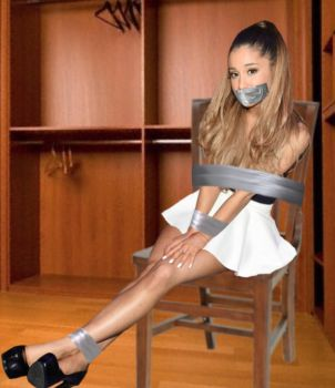 Ariana Grande Chair Tied and Tape Gagged by Goldy0123