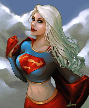 Supergirl In The Clouds by GreenStranger