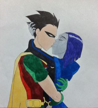 Kiss me - Raven/Robin by BesosDraws