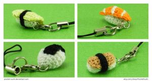 Amigurumi Sushi Charms by pocket-sushi