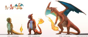Pokemon: Charmander, Charmeleon, and Charizard by TwoDD