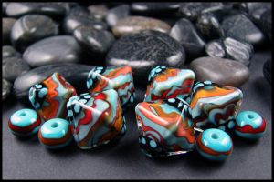 Mayan Sky - Lampwork Glass Beads by andromeda