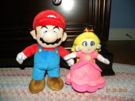 Mario and Peach in plush form by Bowser14456