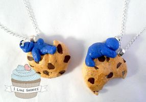 Cookie monster necklaces by ilikeshiniesfakery