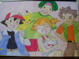 Ash, Tracey, Misty, and Brock by AJLeefan4life