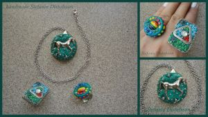 pendant with a horse and two rings by MrsEfi