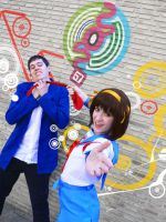 SOS dan- Haruhi and Kyon cosplay by XiXiXion