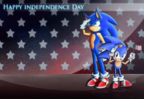 July 4th Sonic Wallpaper by ShadowReaper12