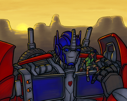 Optimus and Sky for Autobot-At-Heart by RazzieMbessai