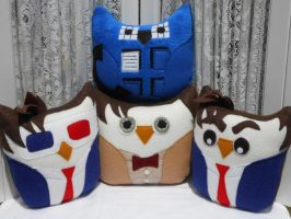 Dr. Who Inspired Owl Plushies 11th Doctor by sylvialovespink