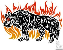 tribal wolf with flames by wolfhound56200