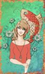 Girl w Koi by CrimsonPearls by carol-colors