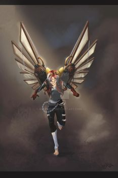 Steampunk Angel Final Colored by AM-Nyeht