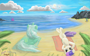 Summer (Lyra and Bon-Bon and Derpy and seapony) by Drawoff-Freeride