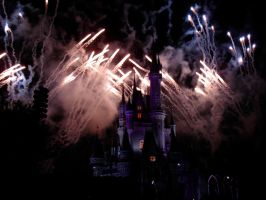 Purple Castle and fireworks by WDWParksGal-Stock