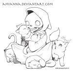 Death with Kittens-Lineart by amianna