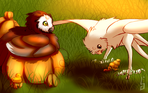 [Halloween Event] If two baby stryx need a break by VirusDrawing