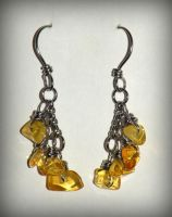 Baltic amber and stainless steel earrings by marsvar