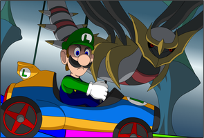 Luigi Death Stare in the Reverse World by LucarioShirona