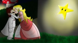 Drawing Demo 44 - Mario and Peach Kiss by GOStarDreams