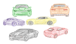 Rainbow of camaros by Pencil-Mage