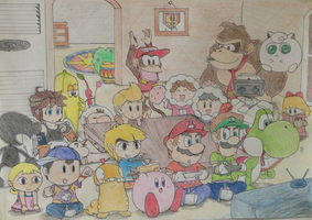 Guys! It's brawl time!!!(drawing) by DinoeArchelon