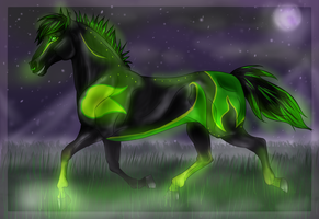 Glowing Green Ghost by QueenHalloween