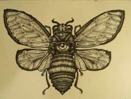 Cicada (outline and stippling) by The-Serpents-Egg