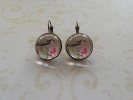 Earrings with bird and flowers by SteamJo