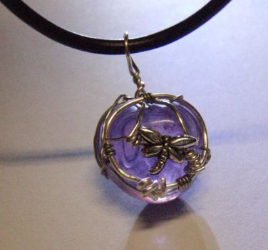 Purple Dragonfly Pendant by fiety1