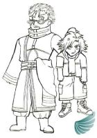 Kid Tidus and Auron by Jessami