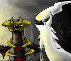 Arceus and Giratina by Meinkenny